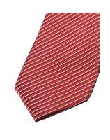 Slim kravata Olymp - červená s votkanými prúžkami