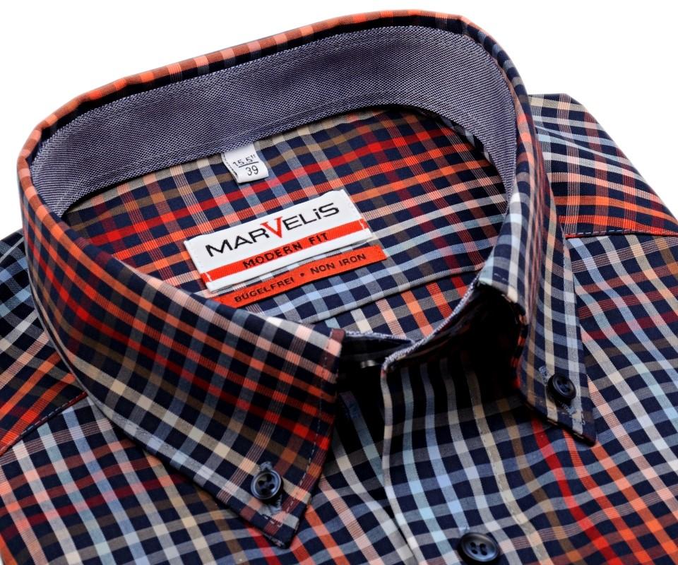 72f678e6fb3b Marvelis Modern Fit - farebná károvaná košeľa s vnútorným golierom - krátky  rukáv