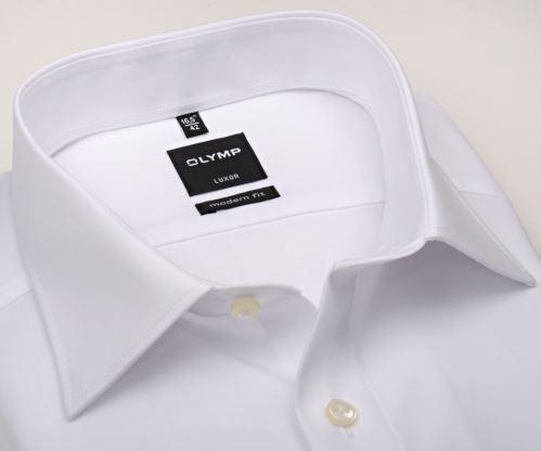 Olymp Luxor Modern Fit Uni Popeline - bílá košile - krátký rukáv