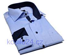 Eterna Comfort Fit Fine Oxford – světle modrá košile s tmavě modrým vnitřním límcem, manžetou a légou - prodloužený rukáv