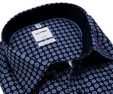 Olymp Comfort Fit – tmavomodrá košile s modro-bílými kolečky - prodloužený rukáv