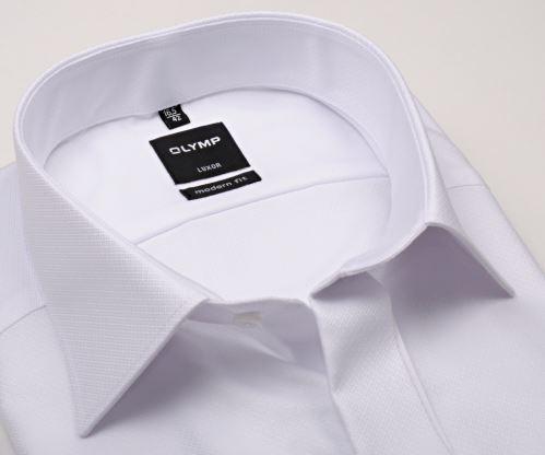 Olymp Luxor Modern Fit - bílá gala košile se strukturou, dvojitou manžetou a skrytým zapínáním