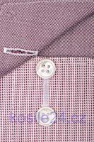 Olymp Luxor Modern Fit – košeľa s vínovo červeným votkaným prúžkom s vnútorným golierom - skrátený rukáv