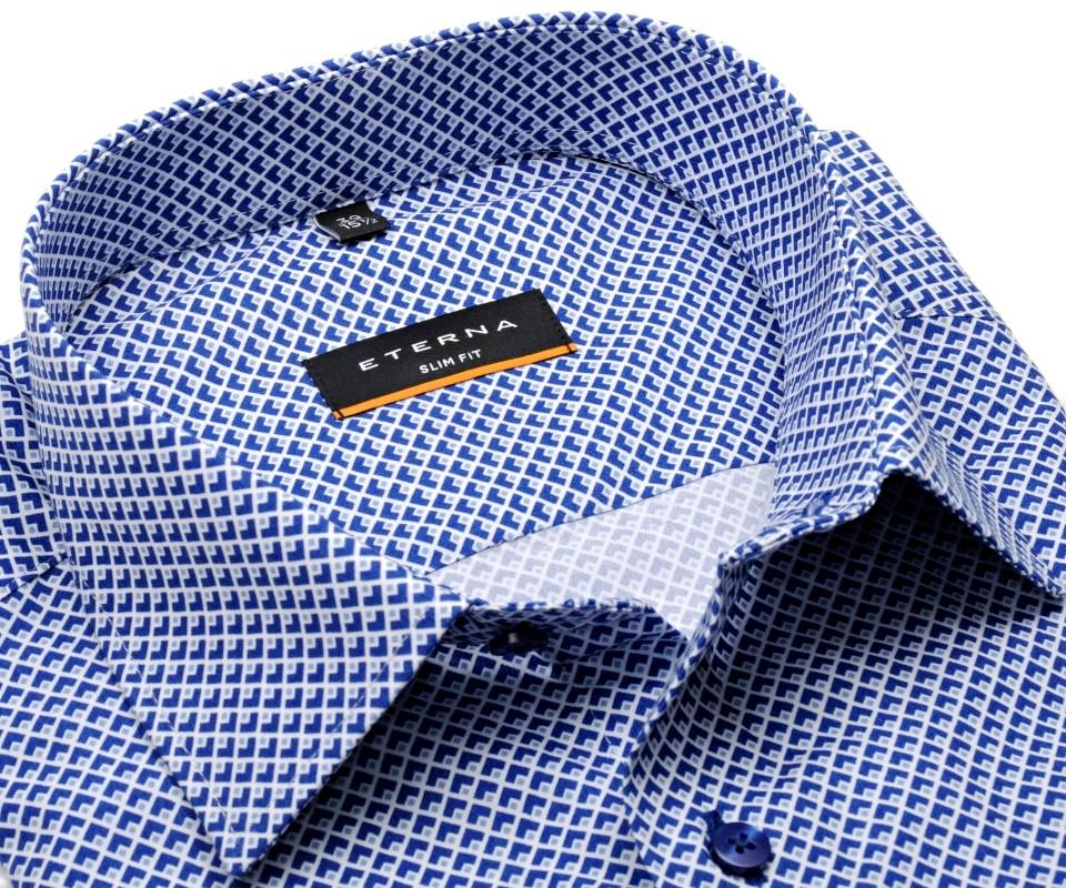 1317514531f Eterna Slim Fit – košile s modrým tištěným vzorem – extra prodloužený rukáv