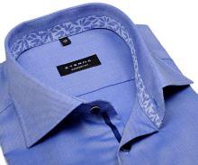 Eterna Comfort Fit - modrá košeľa s jemnou štruktúrou a kvetovaným vnútorným golierom - krátky rukáv