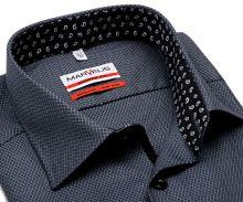 Marvelis Modern Fit – sivo-čierna košeľa s votkaným vzorom a čiernym vnútorným golierom a légou
