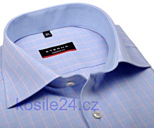 Eterna Modern Fit – svetlomodrá károvaná košeľa s vnútorným golierom a manžetou - extra predĺžený rukáv