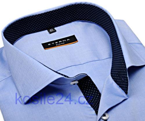 Eterna Slim Fit Fine Oxford – svetlomodrá košeľa s tmavomodrým vnútorným golierom, manžetou a légou