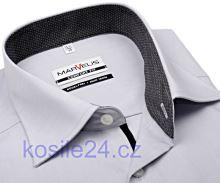 Marvelis Comfort Fit – sivá košeľa s antracitovým vnútorným golierom, manžetou a légou