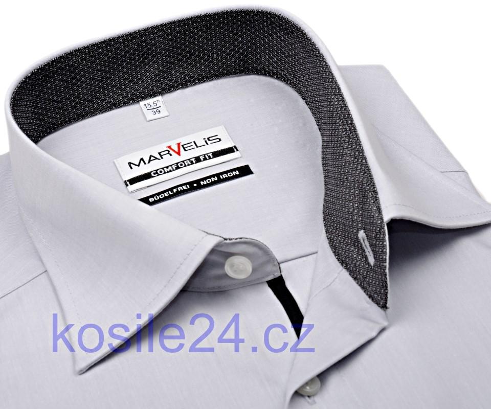 Marvelis Comfort Fit – šedá košile s antracitovým vnitřním límcem 5e4fd5689b