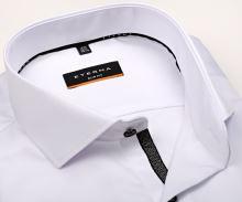 Eterna Slim Fit Twill Cover - luxusní bílá neprůhledná košile s černo-šedou vnitřní légou