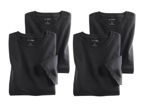 Čierne bavlnené tričko Olymp s krátkym rukávom - kulatý výstrih - výhodné balenie 4 ks