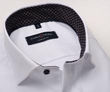 Casa Moda Comfort Fit Premium – luxusná biela košeľa s diagonálnou štruktúrou a vnútorným golierom