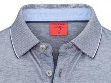 Polo tričko Olymp Level Five - tmavomodré body fit tričko s golierom a bielym rastrovaním
