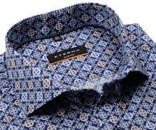 Eterna Slim Fit Twill – tmavomodrá dizajnová košeľa s bielo-modro-hnedými ornamentmi - extra predĺžený rukáv