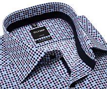 Olymp Luxor Modern Fit  – dizajnová košeľa s farebnými bodkami a vnútorným golierom