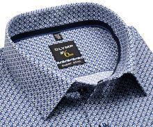 Olymp Super Slim – košile s modrým vzorem a vnitřní manžetou