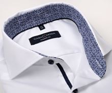 Casa Moda Modern Fit Twill – biela košeľa s modro-bielym vnútorným golierom a manžetou