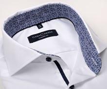 Casa Moda Modern Fit Twill – bílá košile s modro-bílým vnitřním límcem a manžetou