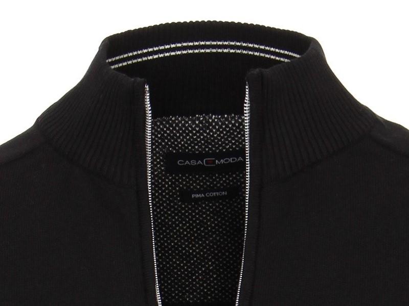 ed1d91e161ab Rozopínací polóver na zips z 100% PIMA bavlny Casa Moda – černý