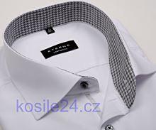 Eterna Comfort Fit Chambray – biela košeľa s čierno-bielym vnútorným golierom a légou - krátky rukáv