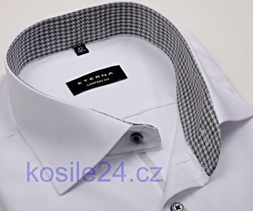 Eterna Comfort Fit Chambray – bílá košile s černo-bílým vnitřním límcem - prodloužený rukáv
