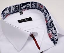 Eterna Comfort Fit – biela košeľa s vnútorným golierom s anglickými motívmi - extra predĺžený rukáv