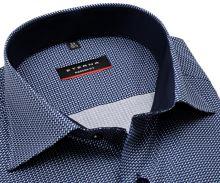 Eterna Modern Fit – košeľa s modro-bielym tľačeným vzorom, vnútorným golierom a manžetou
