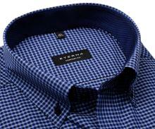 Eterna Comfort Fit – modrá károvaná košeľa s vnútorným golierom a manžetou