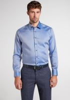 Eterna Modern Fit Twill – modro-bílá košile s vnitřním límcem, manžetou a légou