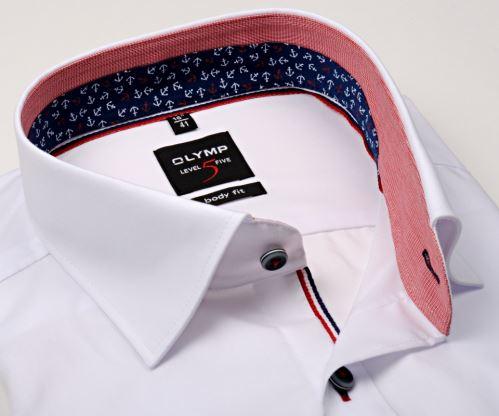 Olymp Level Five – bílá košile s červeno-modrým vnitřním límcem, manžetou a légou