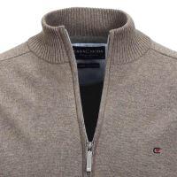 Bavlnený rozopínajúci pulóver Casa Moda – sivo-hnedý