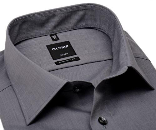 Olymp Luxor Modern Fit Fil a Fil - tmavě šedá - prodloužený rukáv