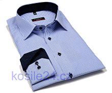 Eterna Slim Fit Twill – košeľa s modrým prúžkom s vnútorným golierom - extra predĺžený rukáv
