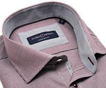 Casa Moda Comfort Fit Premium – luxusní košile s červeným vzorem a vnitřním límcem - extra prodloužený rukáv