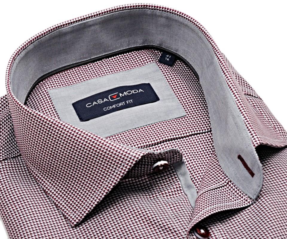 Casa Moda Comfort Fit Premium – luxusní košile s červeným vzorem a vnitřním  límcem - extra prodloužený rukáv b5c35dec73