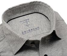 Olymp Level Five 24/Seven – sivá elastická košeľa so svetlým rastrovaním