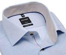 Olymp Modern Fit – světle modrá košile s béžovými čtverečky a vnitřním límcem - prodloužený rukáv