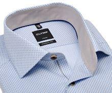 Olymp Modern Fit – svetlomodrá košeľa s béžovými štvorčekmi a vnútorným golierom - krátky rukáv