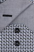 Venti Slim Fit – košeľa s čierno-sivým vzorom a vnútorným golierom - extra predĺžený rukáv