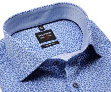 Olymp Level Five – luxusná biela košeľa s modrým vzorom a vnútorným golierom - predĺžený rukáv
