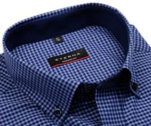 Eterna Modern Fit – modrá károvaná košeľa s vnútorným golierom a manžetou - extra predĺžený rukáv
