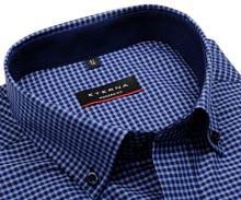 Eterna Modern Fit – modrá károvaná košile s vnitřním límcem a manžetou