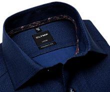 Olymp Modern Fit – modrá košile s jemným vzorem a vnitřním límcem - prodloužený rukáv
