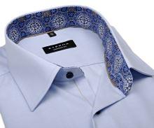 Eterna Comfort Fit – svetlomodrá košeľa s jemnou štruktúrou a vnútorným golierom - krátky rukáv