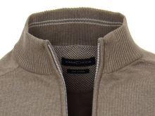 Bavlnený rozopínajúci pulóver Casa Moda – svetlohnedý