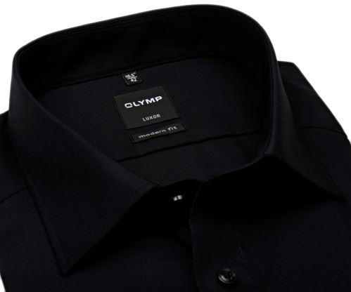 Olymp Luxor Modern Fit - černá košile - krátký rukáv