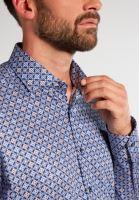 Eterna Comfort Fit – tmavomodrá designová košile s bílo-modro-hnědými ornamenty - extra prodloužený rukáv
