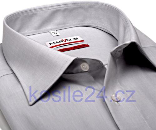 Marvelis Modern Fit Chambray – světle šedá košile - krátký rukáv