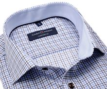 Casa Moda Comfort Fit Premium – košeľa s modro-hnedým kostkovaným vzorom a vnútorným golierom
